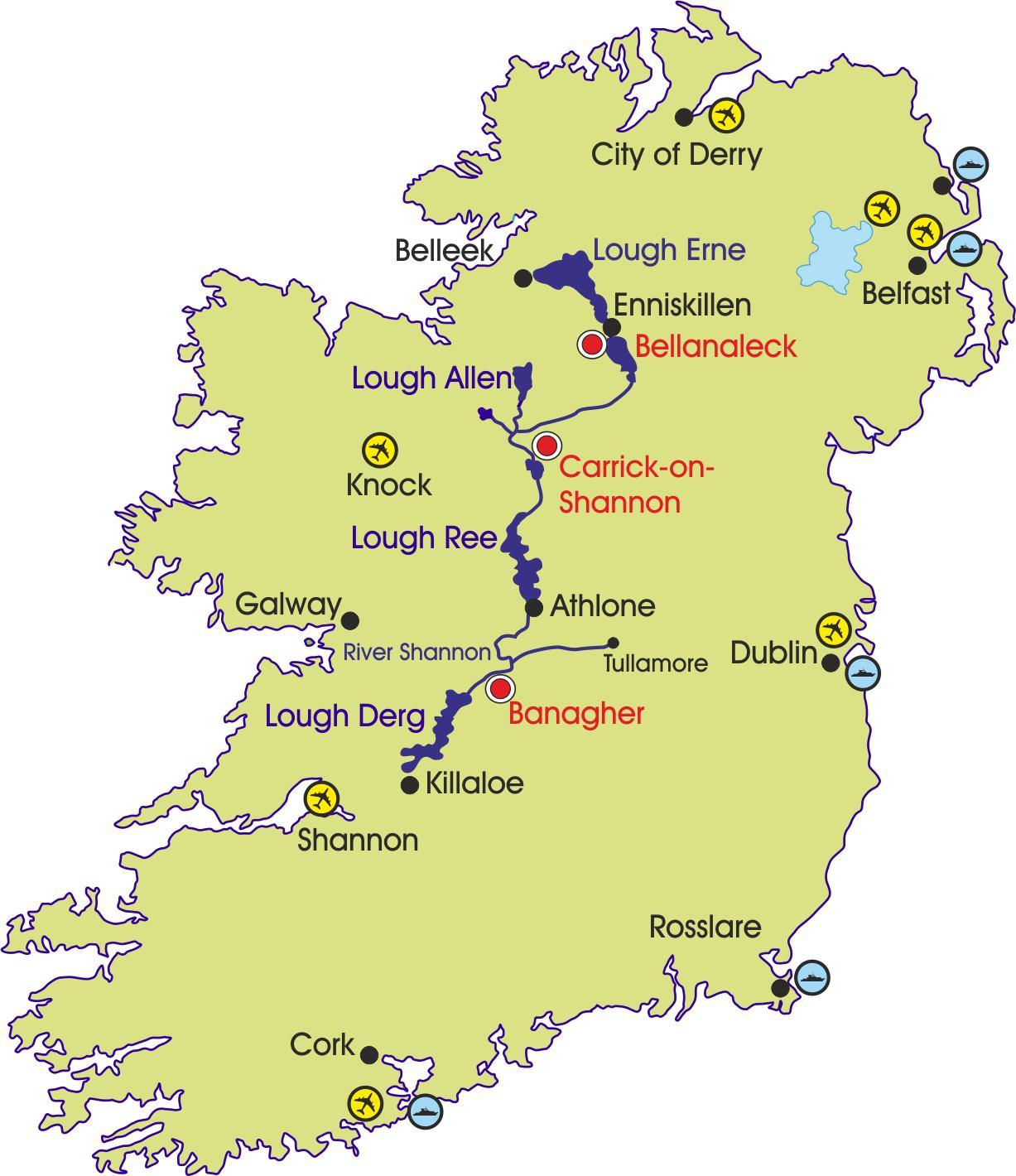 Irsko Reky Mapa Mapa Irska Rek A Hor Severni Evropa Evropa