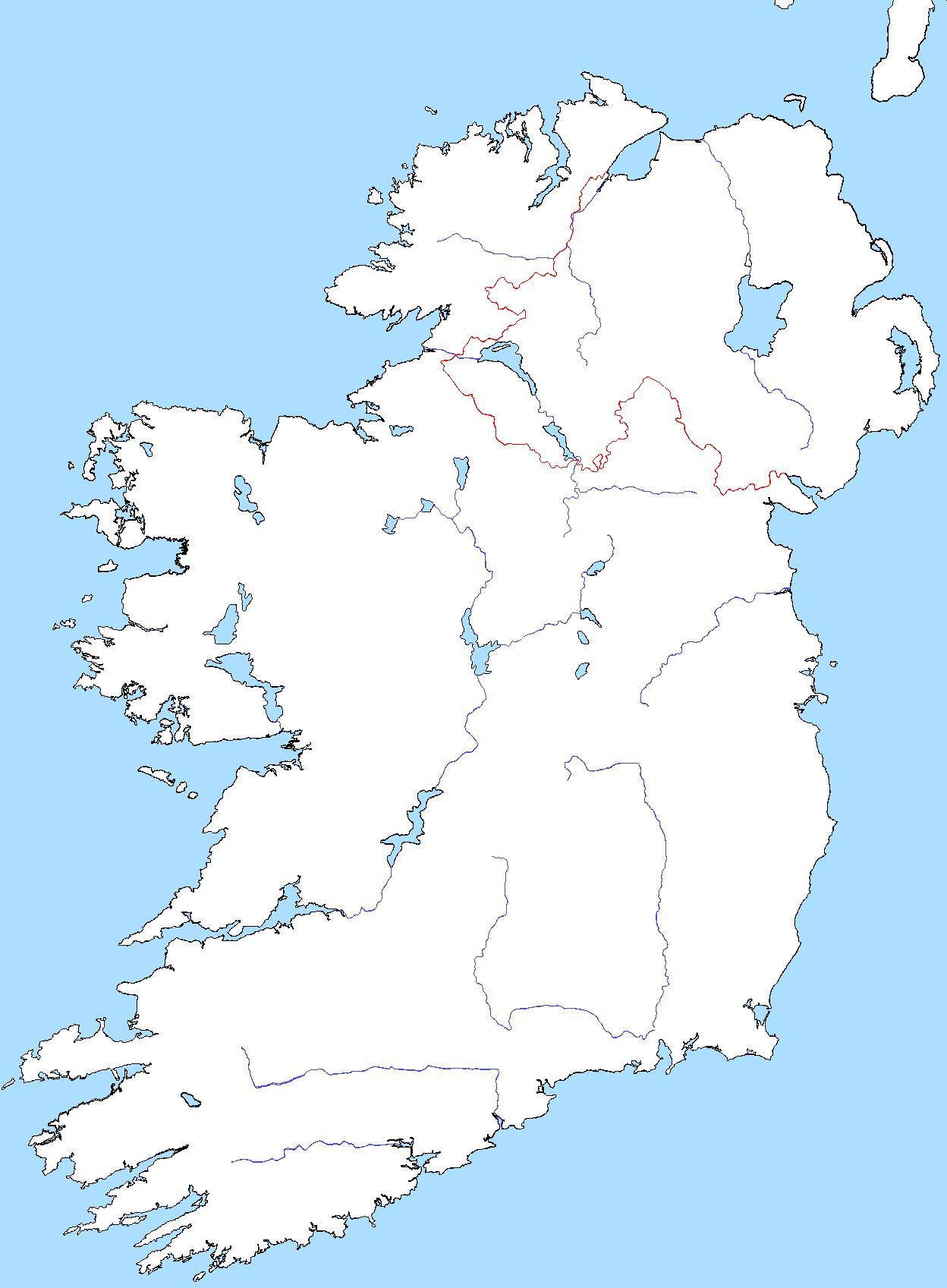Slepa Mapa Irska S Reky Mapa Slepa Mapa Irska S Reky Severni
