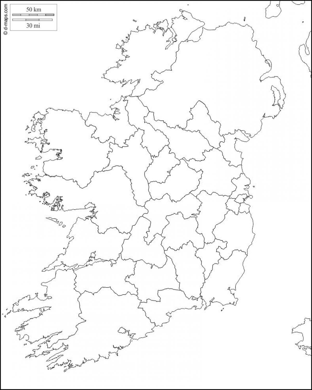 Irsko Mapa Hrabstvi Osnovy Slepa Mapa Irska S County Hranic