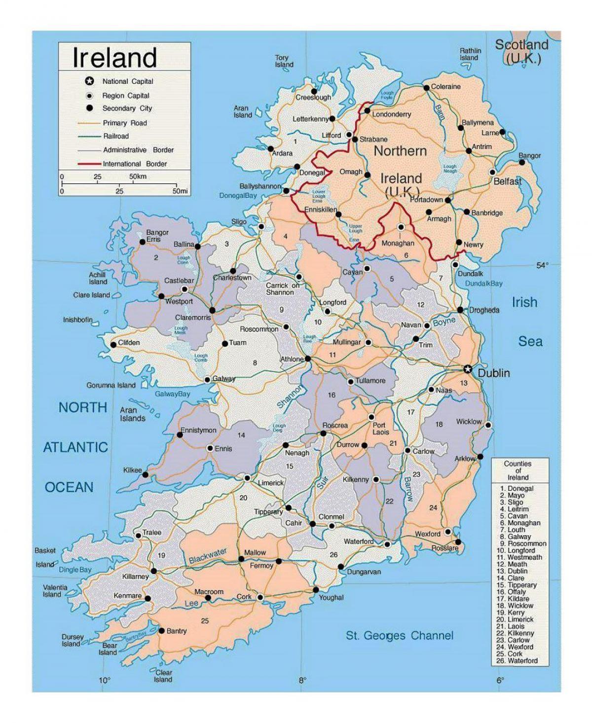 Irsko Mapa Mesta Mapa Irska S Mesty Severni Evropa Evropa