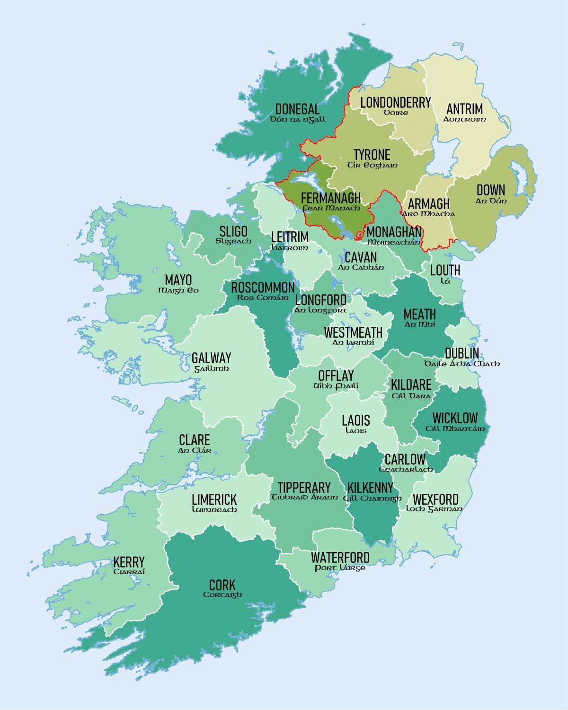 Mapa Irska Kraju A Mest Ukazat Mapu Irska S Okresy Na To